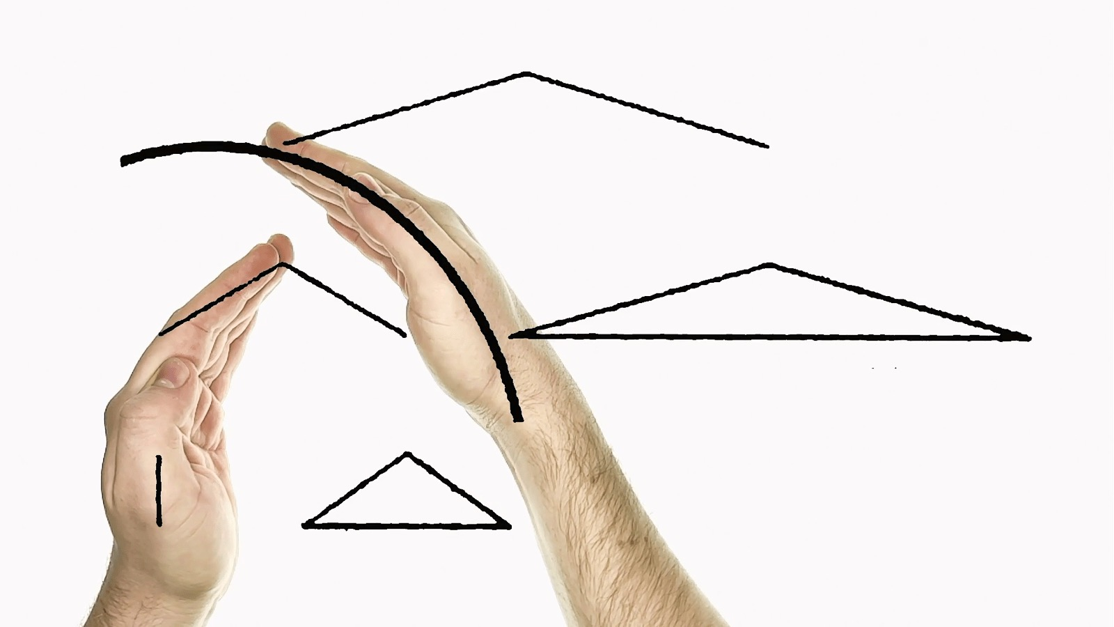 Two hands aligning themselves with an abstract diagram of lines and shapes.