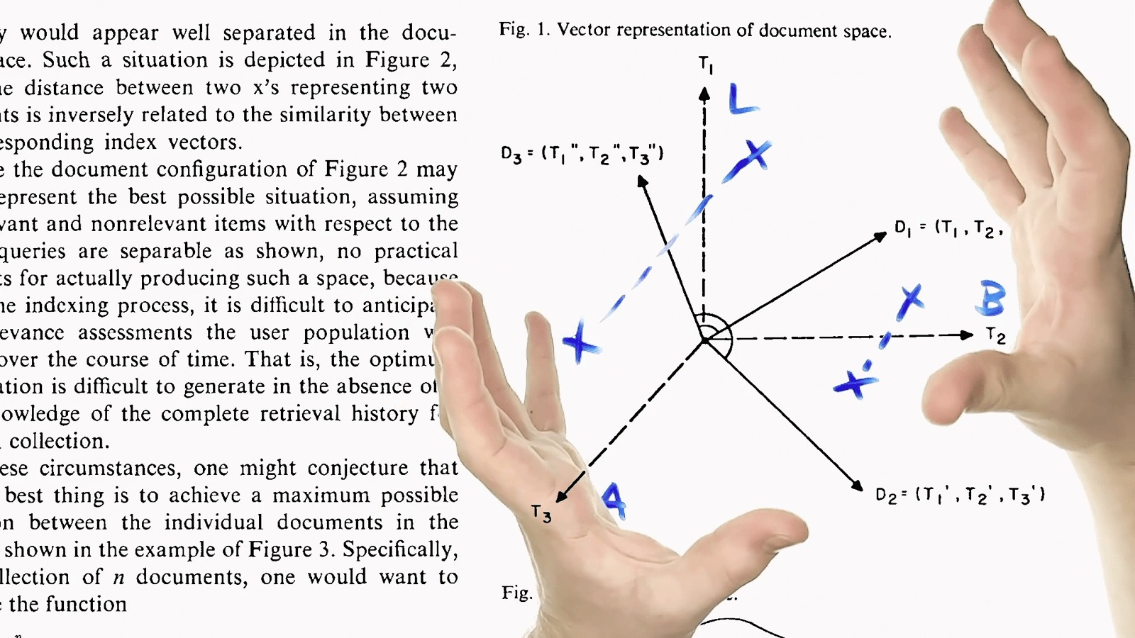 A picture of two hands, one holding a red marker, hovering over a page of a computer science research paper with a diagram and some text.