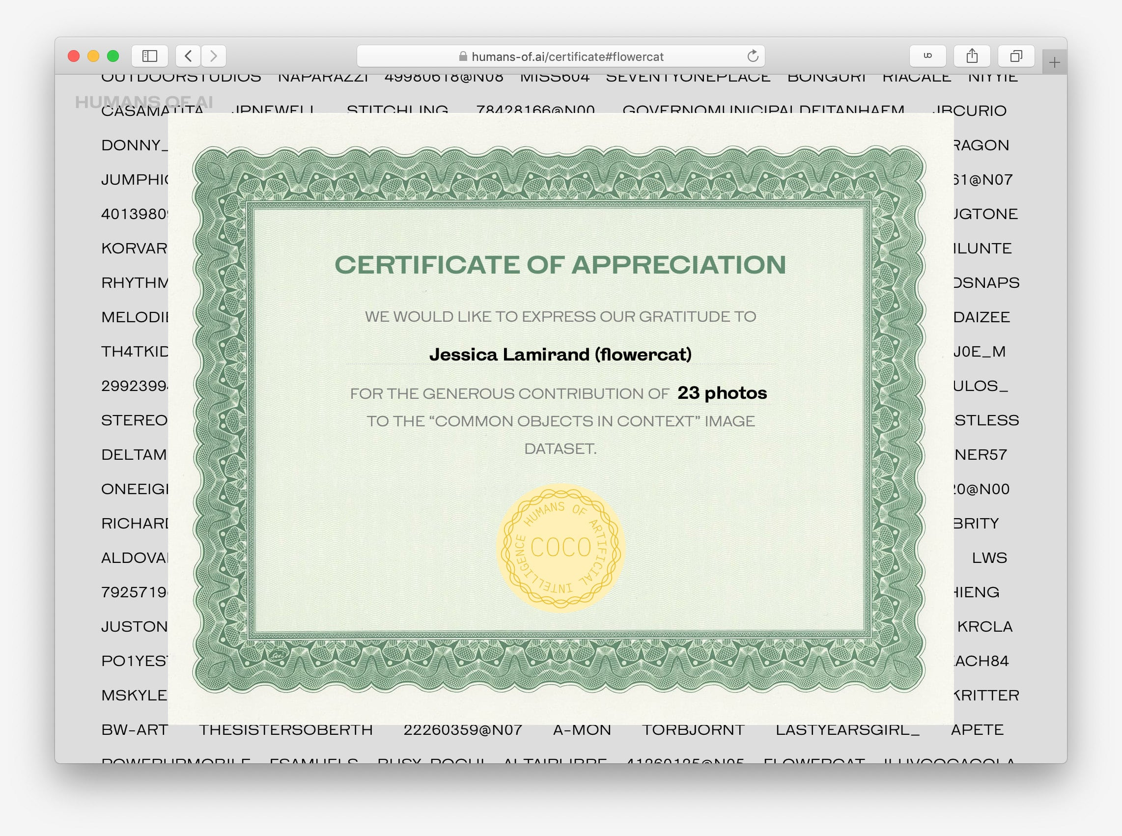 Humans of AI: Certificates. 34,248 Certificates (2019)
